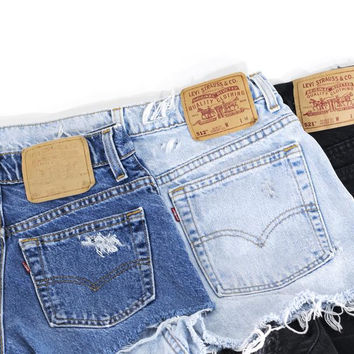 Vintage Levi's Shorts Denim Cutoffs Distressed Levi Jeans