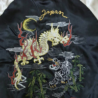 Mega Sale 20% OFF Sukajan Jacket Satin Vintage Rare Embroidered Dragons Vs Tigers Japan Yokosuka Varsity Souvenir Jacket