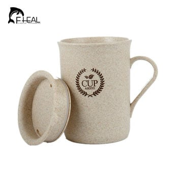 FHEAL Eco Stylish Coffee Mugs Tea Cup Wheat Straw Round Plastic Tumblers Cup Mugs Home Office Tableware Tools
