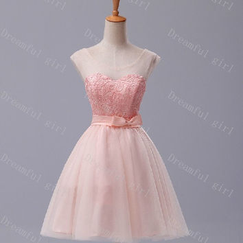 Jewel sweetheart mini tulle with sash bridemaid dress,prom dress,evening dress