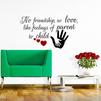 Wall Decals Quote No friendship, no love Decal Vinyl Sticker Hand Heart  Nursery Bedroom Hall Home Decor Dorm Playroom Room Art Murals MN455
