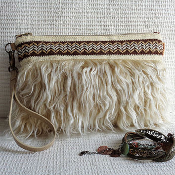Wristlet clutch purse / Hippie, Gypsy, Tribal, Cowgirl, Western, Country, Boho mini bag