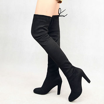Two Style Womens Slim Suede Thigh High Boots Sexy Fashion Chunky Heels Over the Knee Boots Plus Size Shoes Woman Black Grey
