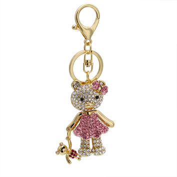 Novelty Items Creative Full Rhinestone Cute Teddy Bear Car Keychains Gold Plated Keyrings Women Charm Gift Free Shipping
