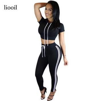 PEAPU3S 2017 New Style Women Bodycon Cotton Jumpsuit Summer Long Solid Hooded Short Sleeve Two Piece Rompers Sexy Jumpsuits