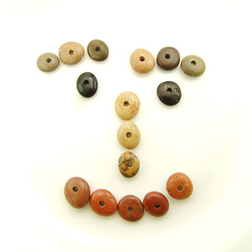 Center Drilled Beach Stones - Round Donut Pebbles 16 pcs Jewelry Supplies Organic Beads Sea Glass