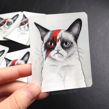 "Grumpy Cat STICKERS David Bowie ""Grumpy Bowie"" vinyl; Set of 2"