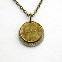 Layered Coin Necklace France Domed 5 centimes 1996 1 Franc 1964