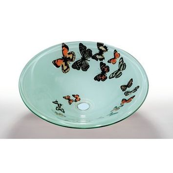 Legion Furniture ZA-107-1 Butterfly Frosted Tempered Glass Sink Bowl