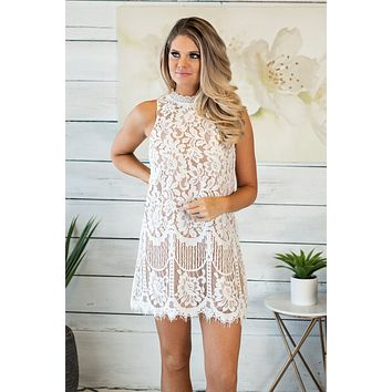 It's The Weekend Baby Lace Dress: Off White