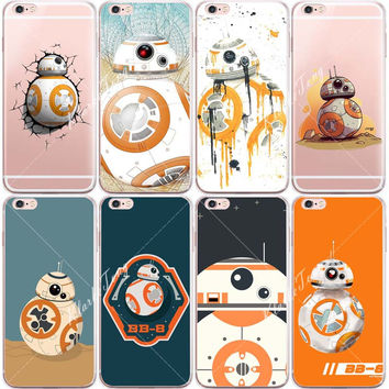 Star Wars The Force Awakens Bb-8 Droid Robot Cases For Iphone 6 6S Plus SE 5 5S Transparent Silicone Cell Phone Case Cover