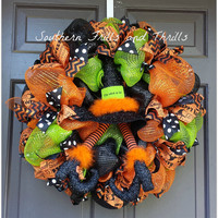 Halloween Wreath, Deco Mesh Wreath, Halloween Deco Mesh Wreath, Wreath, Halloween Decor, Halloween Door Hanger, Witch Wreath