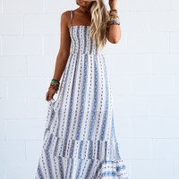 Jeanette Striped Maxi Dress - Blue