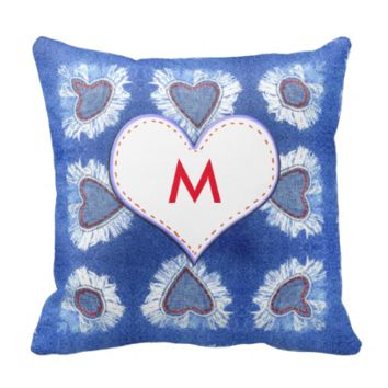 Jeans heart pattern with initials pillows