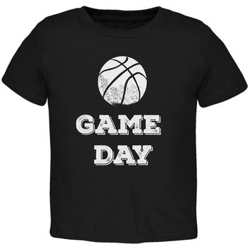 Game Day Basketball Black Toddler T-Shirt