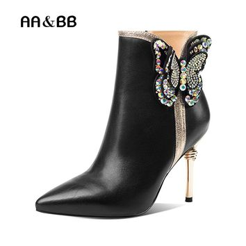 AA&BB black cow leather crystal butterfly-knot women ankle boots sexy high heels pointed toe elegant thin heels boots woman