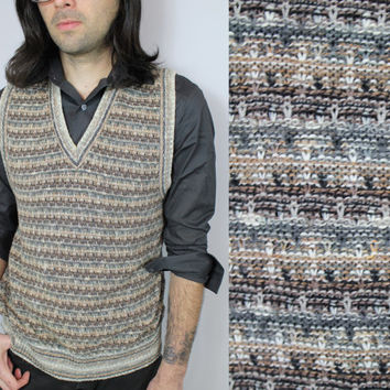 SALE - 80s/90s - Earthy Tone - Multi Woven Knit - Tan & Grey - Mens - V Neck - Sweater Vest - Florence - Made in Italy