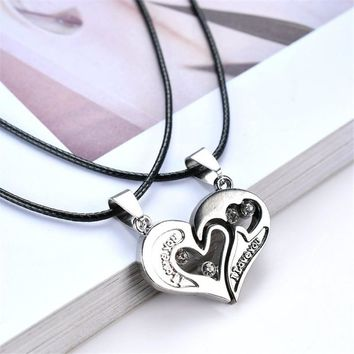 2 PCS Mens Womens Couple Necklace Love Heart Puzzle Matching Pendant Two Halves Heart for Lovers Memorial Day Gift Love Jewelry