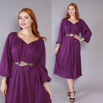Vintage 70s GAUZE DRESS  / 1970s Ethnic Purple Crinkled Cotton Bohemian Festival Tent Dress