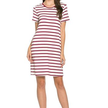 All About Stripes Dress Wine