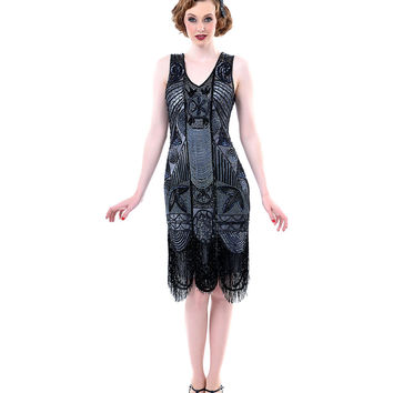 1920's The Bosley Beaded Flapper with Beaded Fringe Dress - S to 2XL - Unique Vintage - Prom dresses, retro dresses, retro swimsuits.