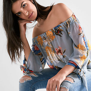 Velvet Smocked Off Shoulder Top | Lucky Brand