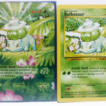 Hand Painted Extended Art Pokemon TCG - Bulbasaur (Base set)