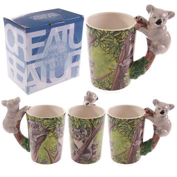 New arrival Creative gift Ceramic coffee milk tea mug 3D animal shape Hand painted animals Giraffe Cow Monkey cup - 2