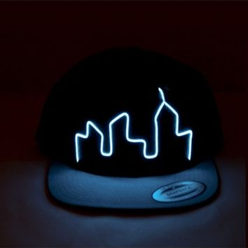 City Light Up Snapback | EL Wire Light Up Hat | Glow In The Dark Hat