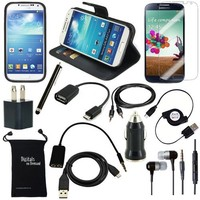 DigitalsOnDemand ® 13-Item Accessory Bundle for Samsung Galaxy S4 SIV S IV i9500 - Leather Case, TPU Case, Screen Protector, USB Cables + Chargers