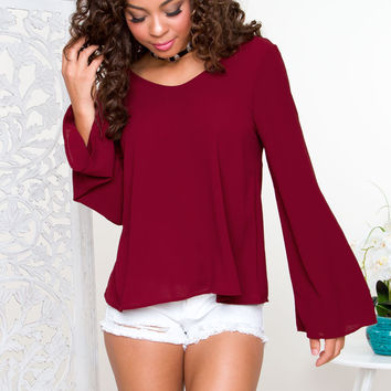 Ambria Bell Sleeve Top - Red