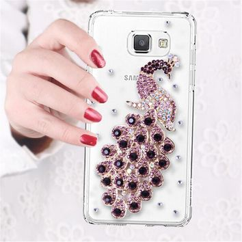 Luxury 3D Peacock Bird bling Crystal diamond Mobile phone Shell Back Cover Skin Hard Case For Samsung Galaxy A5 2016 SM-A510F
