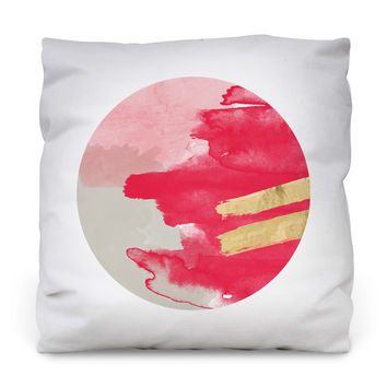 Pink and Gold Outdoor Throw Pillow
