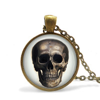 Halloween Necklace Skull Jewelry Day of the Dead Skull Pendant, Death Necklace Halloween Death Jewelry, Scary Skull Necklace, Skull Pendant