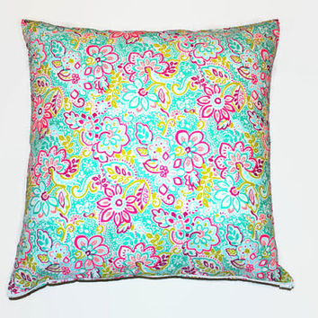 Aqua Green and Pink Pillow Cover // Pastel Floral Pillowcase // Blue and Green Pastel Pillow Cover // Blue & Pink Throw Pillow // Home Decor
