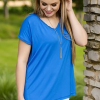 KLR Perfect Piko V-Neck - Classic Blue | Tops | Kiki LaRue Boutique