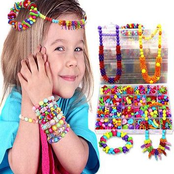 Colorful DIY Handmade String Beads Toy Set Jewelry Necklace Bracelet Making Kit Toys Children Educational Toys for Kids