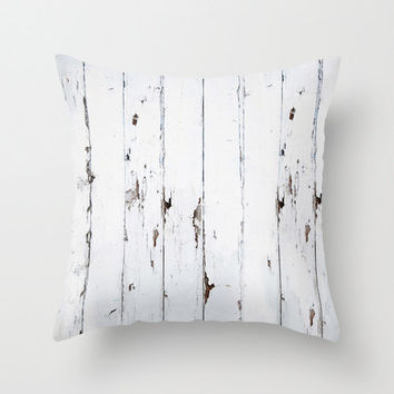 White Distressed Shabby Fence PILLOW COVER Throw Pillow Beach Wood 16x16 Summer