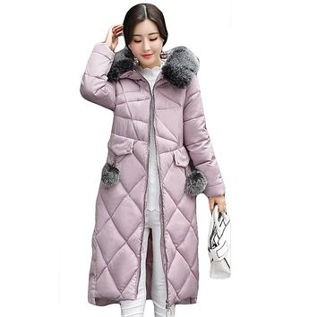 Women Winter Jackets And Coats Warm Slim Quilted Parka Furry Hooded Coat Long Ladies Split Jacket Feminino Casacos Neve CM1383