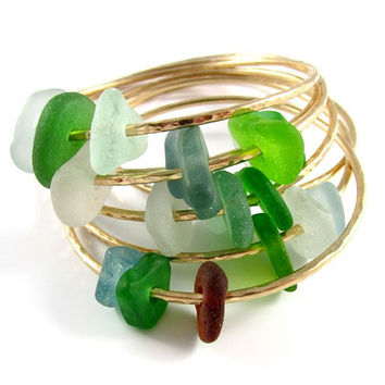 Sea Glass Bangle, Gold Hammered Bracelet, Colorful Hawaiian Beach Glass Bangles, Handmade Maui, Hawaii Beach Jewelry, Ocean Lover Gift Idea