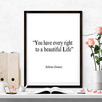 Motivational Print Art, Typography, Gift Idea, Printable Art, Selena Gomez song Lyrics Quote, Inspirational Art, Music Poster, Song Quote