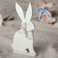 White beautiful handmade wooden Easter rabbit painted with acrylics unusual gift