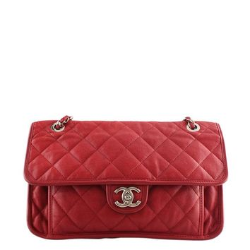 Chanel A67528 Large French Riviera Red Quilted Leather Shoulder Bag