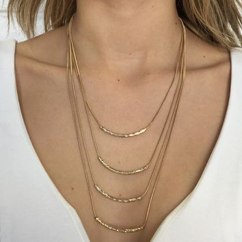 Four Tiered Layered Necklace in Gold