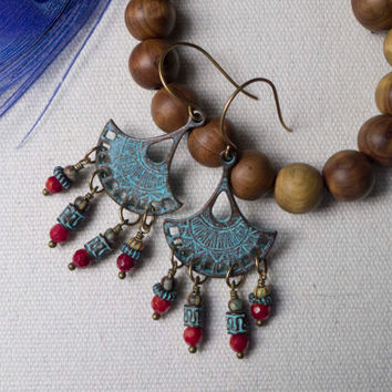 Verdigris patina, chandelier earrings, ruby, red gemstone, distressed, boho earrings, greek casting, fan,mixed metal, rustic, ethnic jewelry