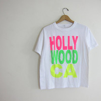 20% OFF SALE Vintage Hollywood, California tee shirt / beach tshirt with NEON letters
