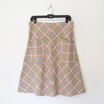 Vintage 1970s Ecco Bay Plaid A-Line Skirt / Elastic Waist / Large Front Pockets / 70s Midi Skirt