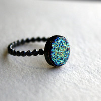Blue Green Yellow Drusy Stone in Handmade by RachelPfefferDesigns