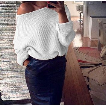 Slash Neck Knitted  Women Sweaters  Long Sleeve Pullover