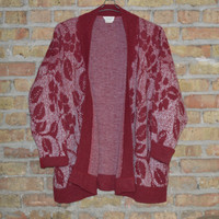 Oversized Maroon Floral Cardigan - Size L/XL